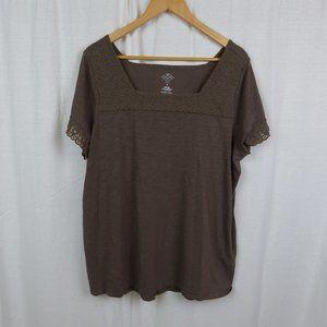 St John's Bay Short Sleeve Shirt Lace Trim Size 1X